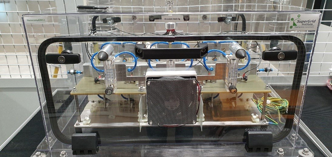 Caption SuperGrid Institute Erosion test rig developed for NanocompEIM 2
